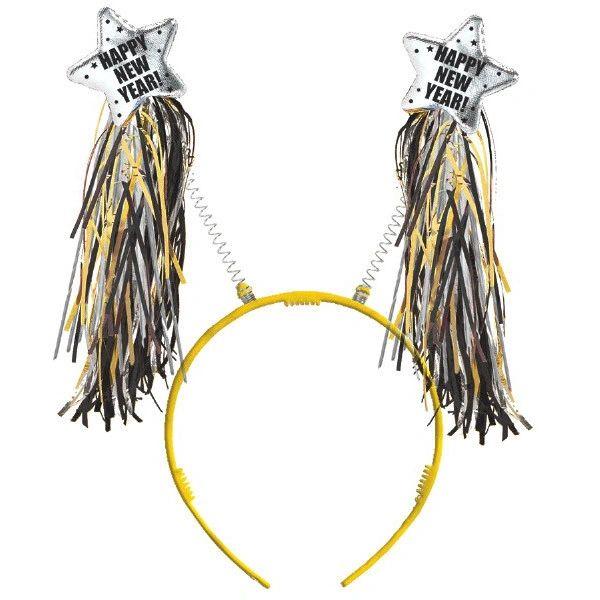 New Year Tinsel Headbopper - Black, Silver, Gold