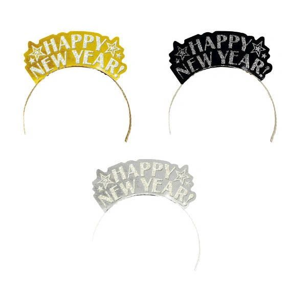Happy New Year Glitter Paper Assorted Tiaras - Black, Silver & Gold, 12ct