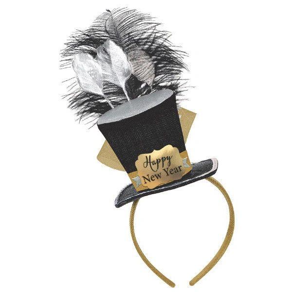 Top Hat Fascinator - Black, Silver, Gold
