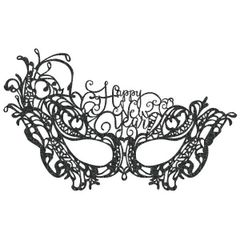 Happy New Year Lace Mask - Black