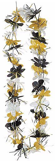 "Tinsel & Flower Lei - Black, Silver & Gold, 20"""