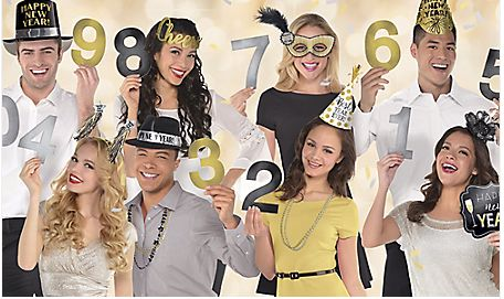 New Year's Countdown Photo Props, 12ct