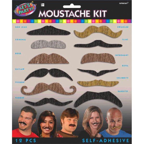 Let's Party Mustache Kit, 12pc