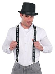 Happy New Year Suspenders - Black/Silver/Gold