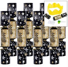 New Year's Printed Paper Crackers - Black, Silver & Gold, 8ct
