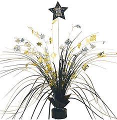 New Year's Foil Spray Centerpiece - Black, Silver & Gold