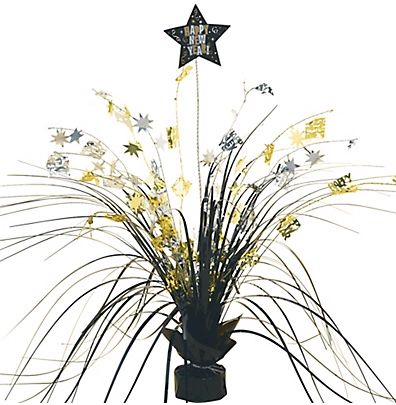 New Year's Foil Spray Centerpiece - Black, Silver & Gold