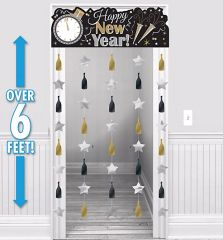 Happy New Year Door Curtain - Black, Silver & Gold