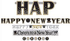 Happy New Year Letter Banner Multi Pack - Black, Silver & Gold, 4ct