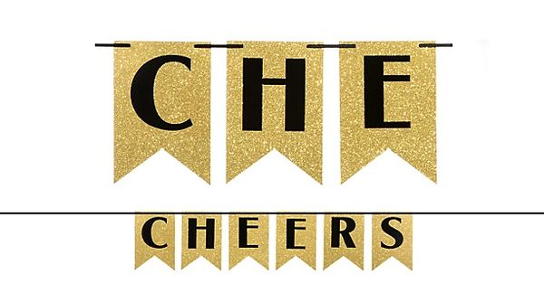 Cheers Glitter Pennant Banner - Gold