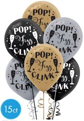 Happy New Year Printed Latex Balloons - Black, Silver, Gold, 15ct