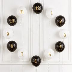 Customizeable New Year's Countdown Latex Balloons, 12ct