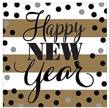 Golden New Year Beverage Napkins, 16ct