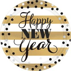 "Golden New Year Round Metallic Plates, 9"" - 8ct"