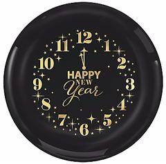 "New Year's Clock Plastic Plates, 6"" - 16ct"