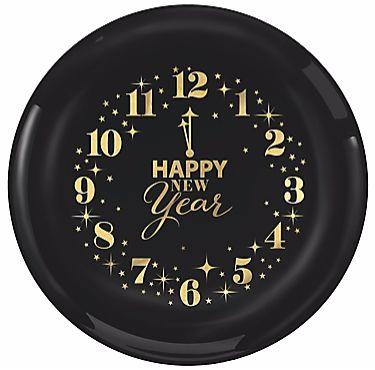 "New Year's Clock Plastic Plates, 6"" - 16ct"