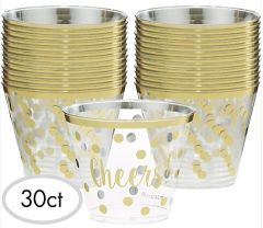 """Cheers!"" New Year Plastic Tumblers, 9oz - 30ct"