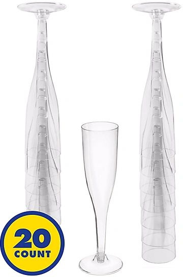 Big Party Pack CLEAR Plastic Champagne Flutes, 5.5oz - 20ct