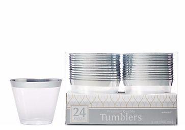 Premium Plastic Tumblers - Silver Trim, 9oz - 24ct