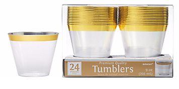 Premium Plastic Tumblers - Gold Trim, 9oz - 24ct