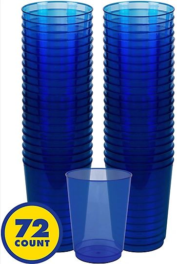 Big Party Pack Bright Royal Blue Plastic Cups, 10oz - 72ct