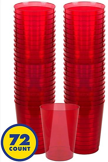 Big Party Pack Red Plastic Cups, 10oz - 72ct