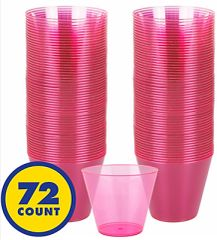 Big Party Pack Bright Pink Plastic Cups, 9oz - 72ct