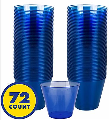 Big Party Pack Bright Royal Blue Plastic Cups, 9oz - 72ct