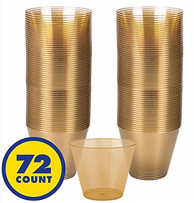 Big Party Pack Gold Plastic Cups, 9oz - 72ct