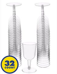 Big Party Pack Clear Plastic Wine Glasses, 5 1/2oz - 32ct