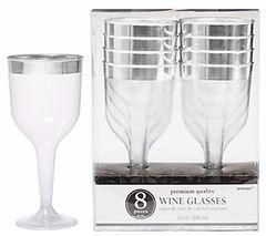 Premium Plastic Wine Glasses - Clear w/Silver Trim, 10oz - 8ct