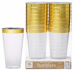 CLEAR Gold-Trimmed Premium Plastic Cups, 16ct