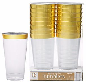 Premium Plastic Tumblers - Clear w/Gold Trim, 16oz - 16ct
