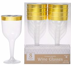 CLEAR Gold-Trimmed Premium Plastic Wine Glasses, 10oz - 8ct