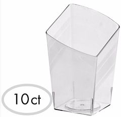 Mini CLEAR Plastic Slanted Tumblers, 10ct