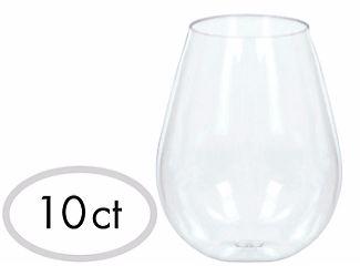 Mini CLEAR Plastic Stemless Wine Glasses