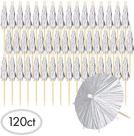 Silver Umbrella Picks, 120ct