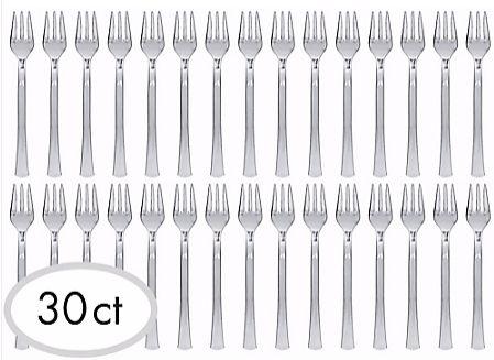 "Mini Forks - Silver, 4"" - 30ct"