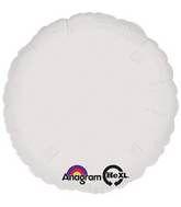 Round 02 Metallic White Mylar Balloon 18in