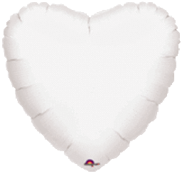 Heart 02 Metallic White Mylar Balloon 18in