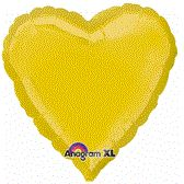 Heart 08 Metallic Yellow Mylar Balloon 18in