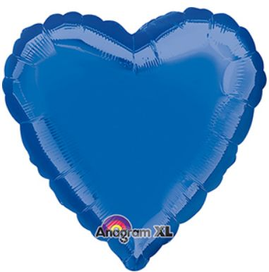 Heart 24 Dark Blue Mylar Balloon 18in