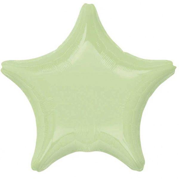 Star 10 Leaf Green Mylar Balloon 18in