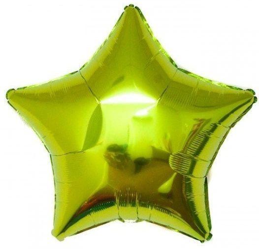 Star 12 Iridescent Lime Green Mylar Balloon 18in