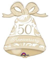 50th Anniversary Bell Super Shape Balloon 27""