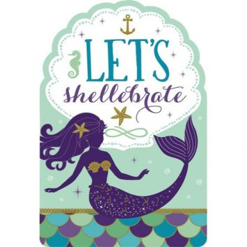 Mermaid Wishes Postcard Invites, 8ct