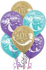 Mermaid Wishes Printed Latex Balloons, 6ct