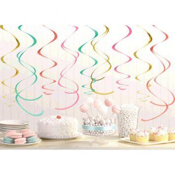 Pastel & Gold Swirl Decorations, 12ct