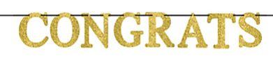 CONGRATS Large Letter Banner - Gold, 12ft