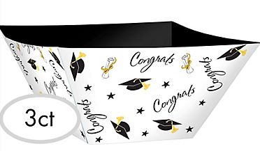 Grad Paper Bowls - Black, Silver, Gold, 3ct